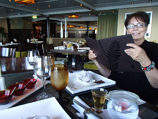 Mom at the Tamarind Oriental restaurant, a specialty restaurant aboard the Eurodam